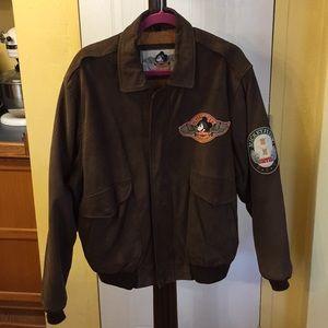 Men's VINTAGE Disney Suede Leather Bomber Jacket L